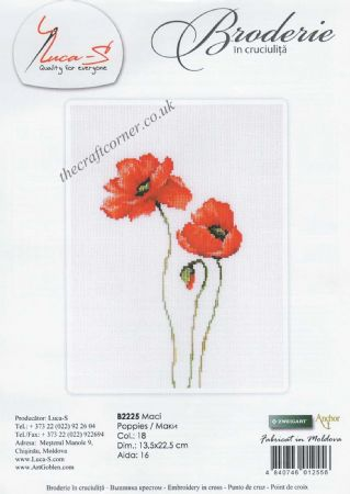 Three Poppies Counted Cross Stitch Kit From Luca-S (B2225)